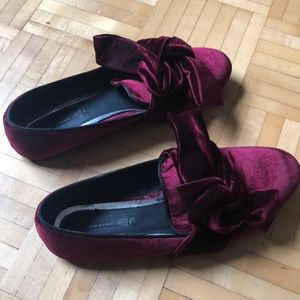 Zara Velvet Red Flats with Bow